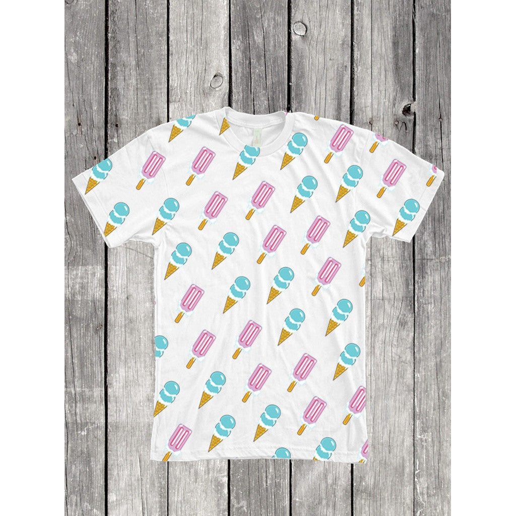 Ice Cream Popsicle Lollipop Cartoon Pattern Full Print Unisex T Shirt