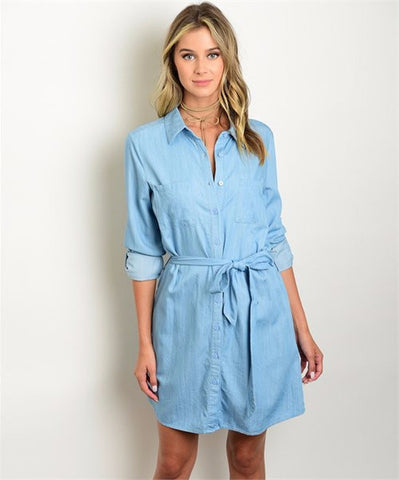 Women's Dress Shirt Denim Tunic Button Down Dress