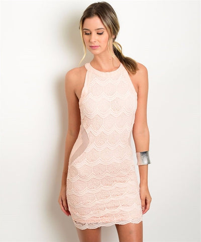 Women's Dress Lace Sleeveless Peach Cocktail Dress