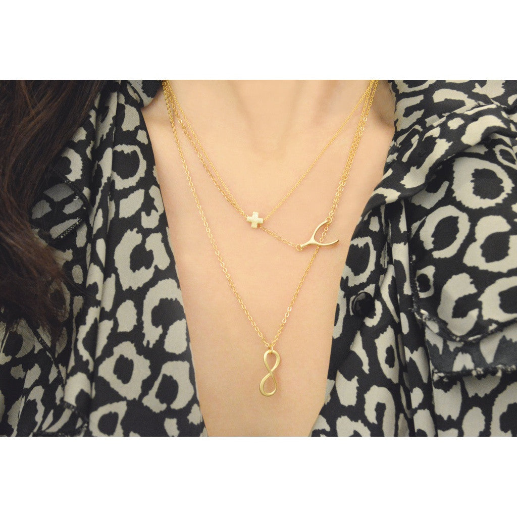 Gold Layered Necklaces (Cross, Side Wishbone, Infinity)