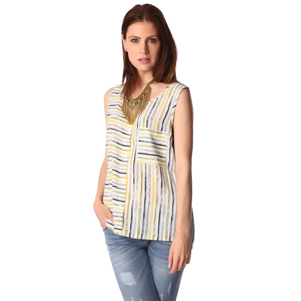 Turquoise Sleeveless Stripe Shirt
