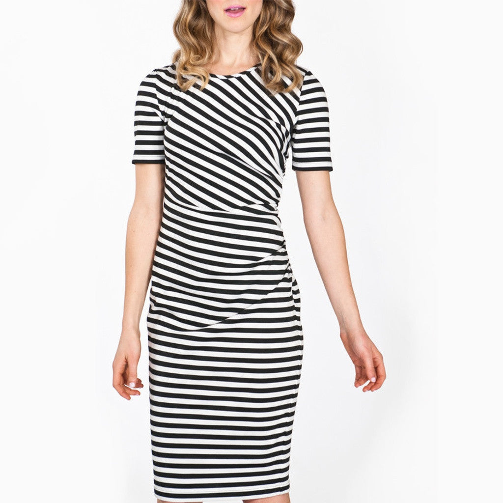 The Megan Side Shirred Pencil Dress in Black and White Ponte