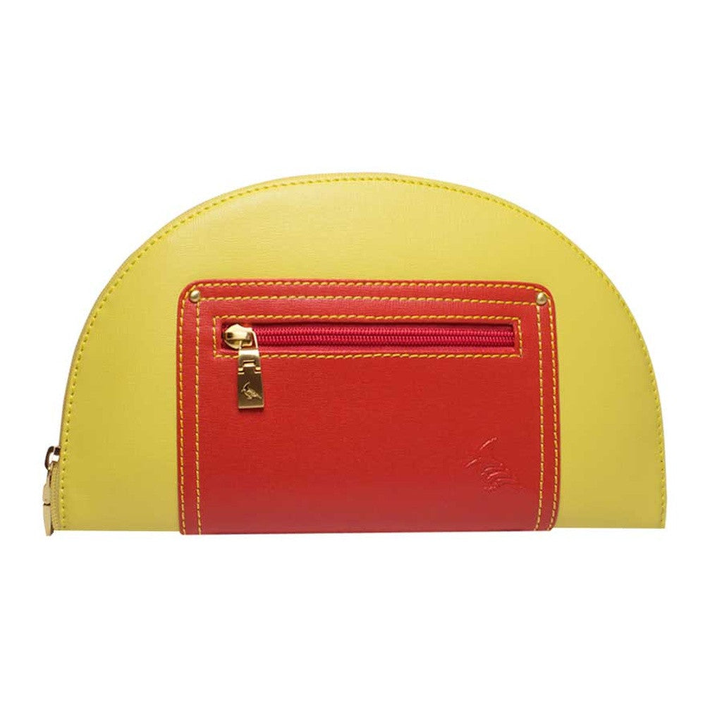 Yellow/Red Saffiano Leather Clutch
