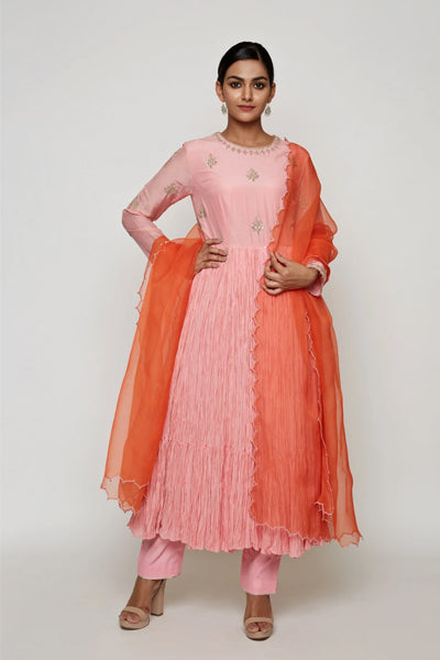 Pink Crushed Kurta with Dupattta