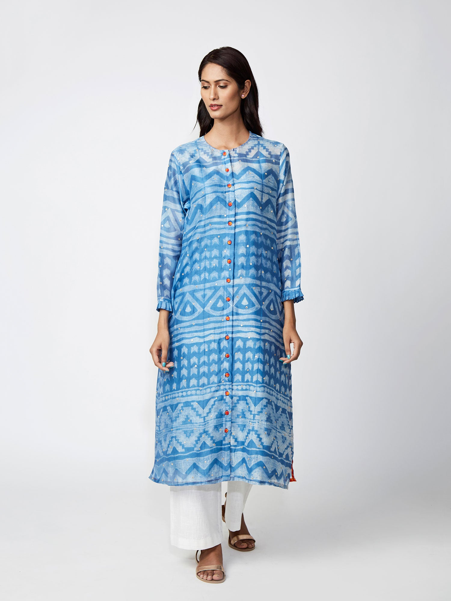 Azure Tribal Print Chanderi Kurta Set