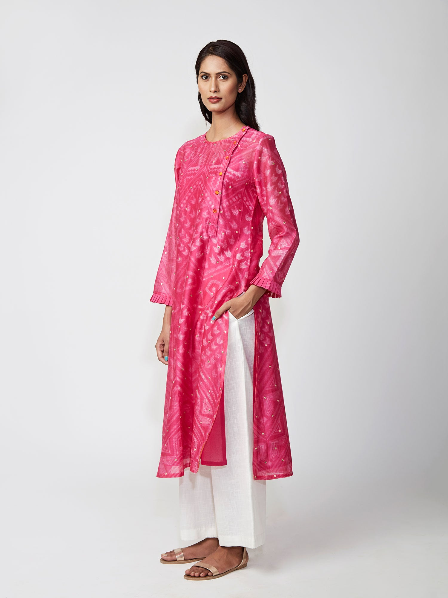Rani Pink Tribal Shibori Chanderi Kurta Set