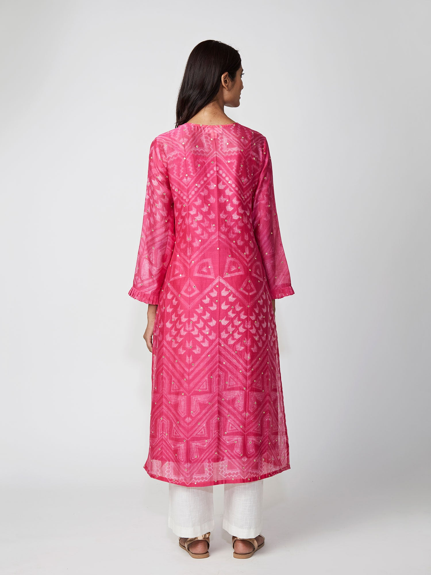 Rani Pink Tribal Print Chanderi Kurta Set