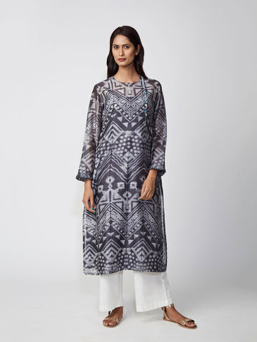 kurta, chanderi, printed, aline, grey, straight