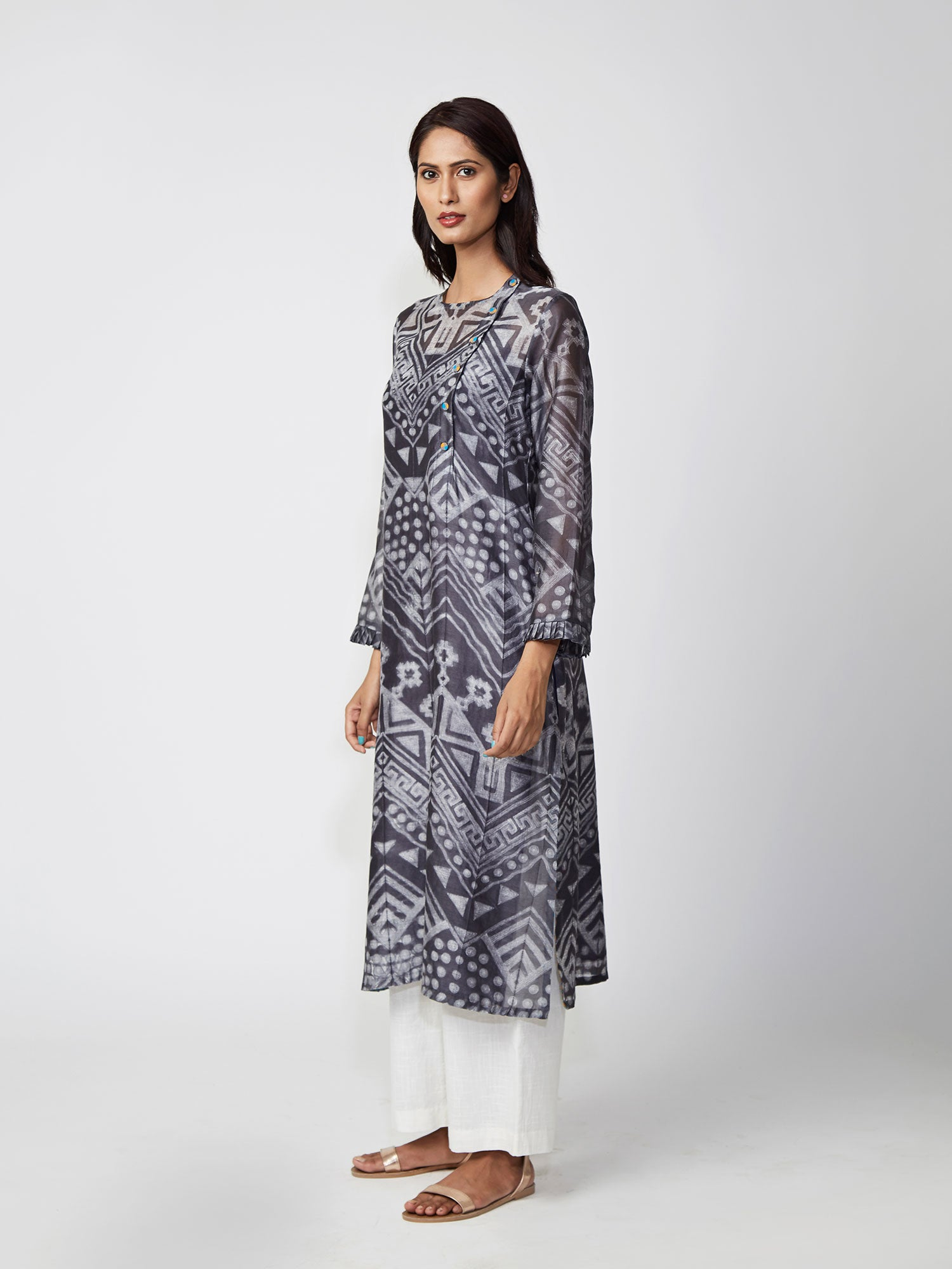 Charcoal Tribal Shibori Chanderi Kurta Set
