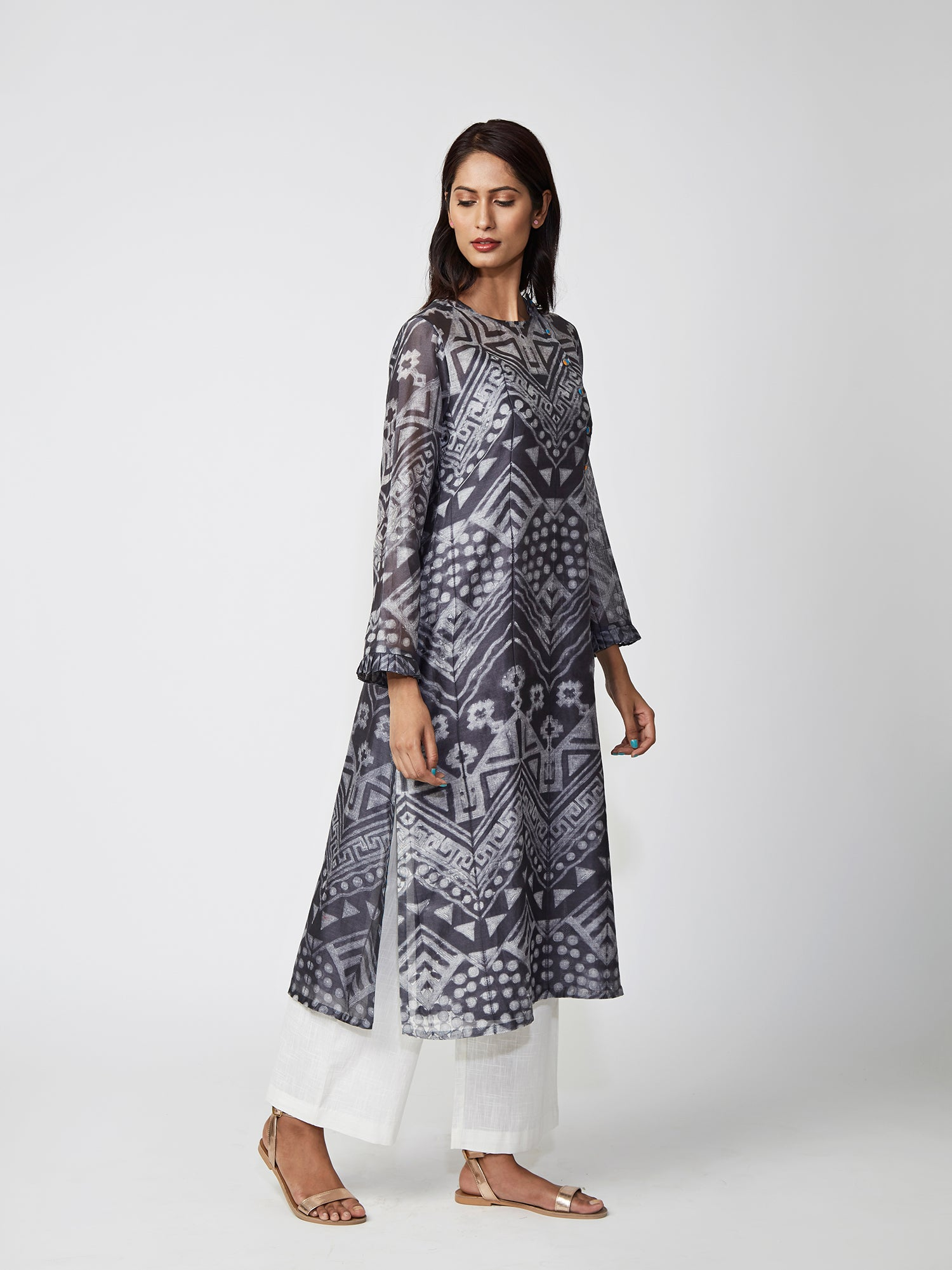 Charcoal Tribal Print Chanderi Kurta Set