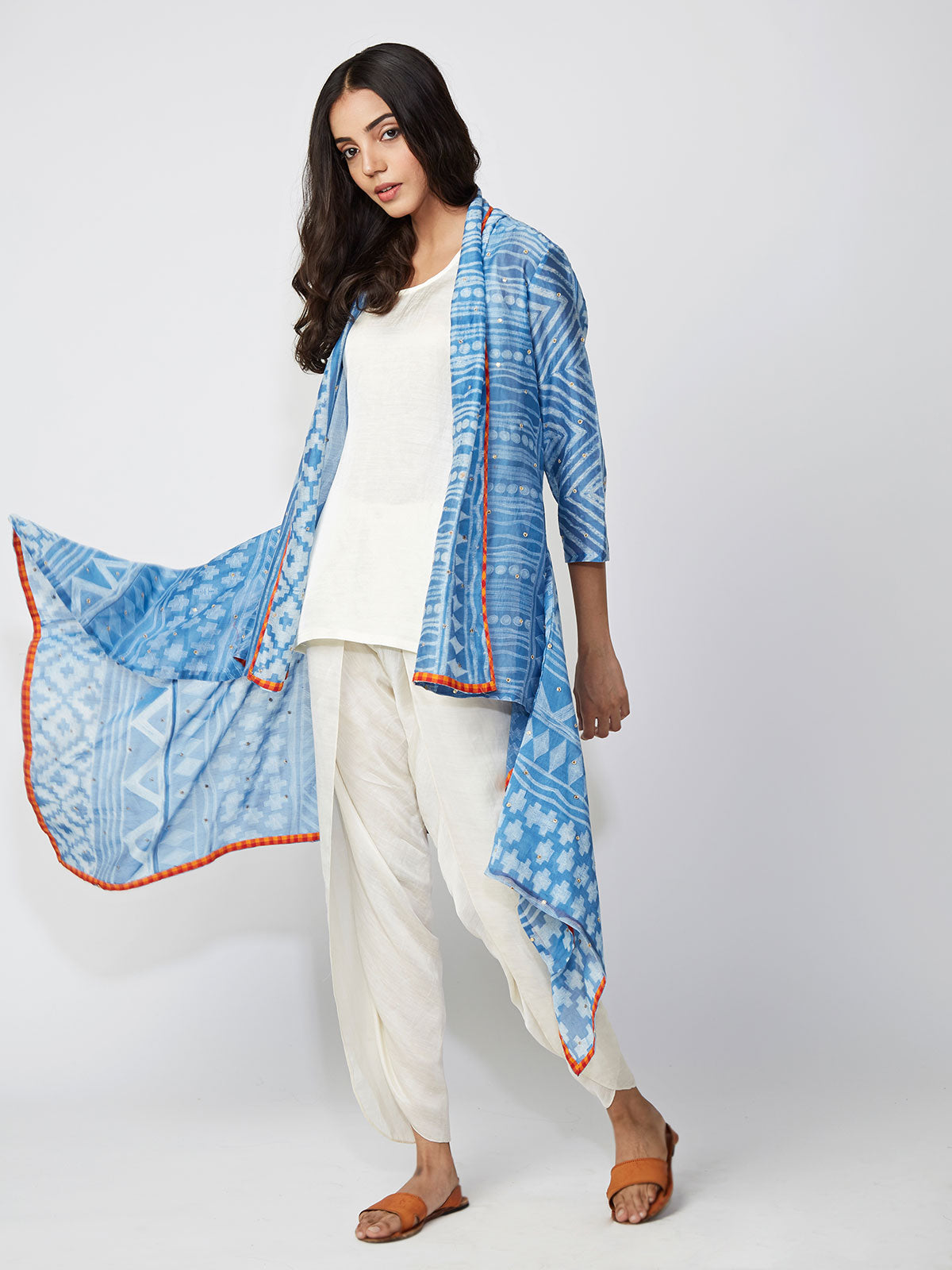Jacket, capes, indianwear, modern indianwear, contemporary, dhoti pants, shibori, summerstyle