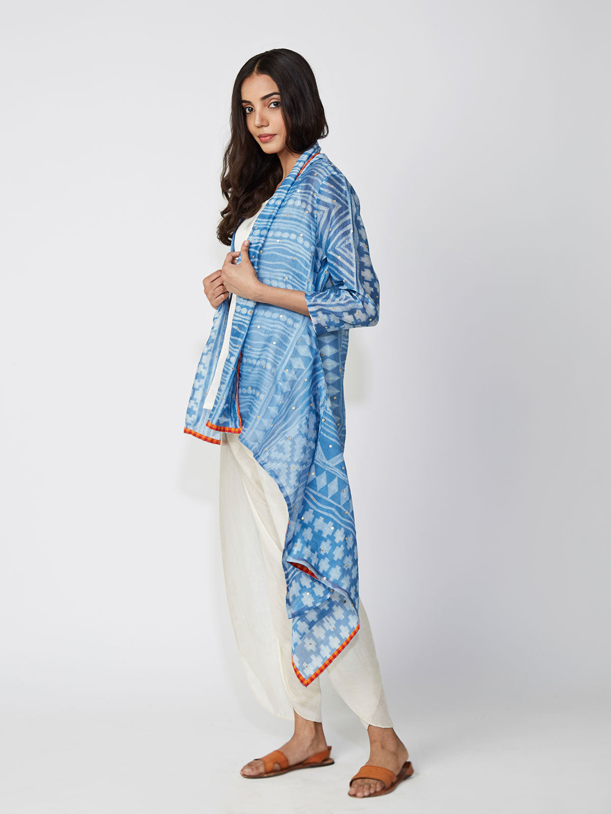 Azure Tribal Shibori Chanderi Jacket And Dhoti Pants