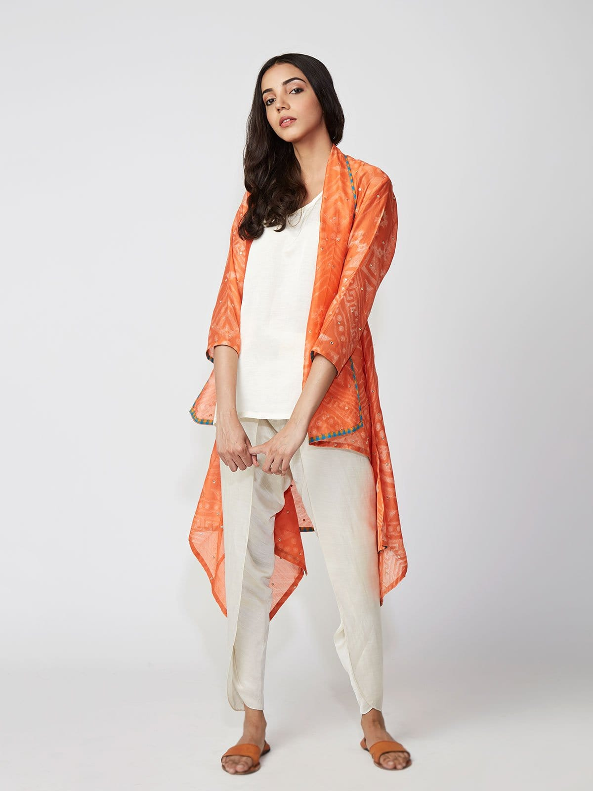 Amber Tribal Shibori Chanderi Jacket And Dhoti Pants