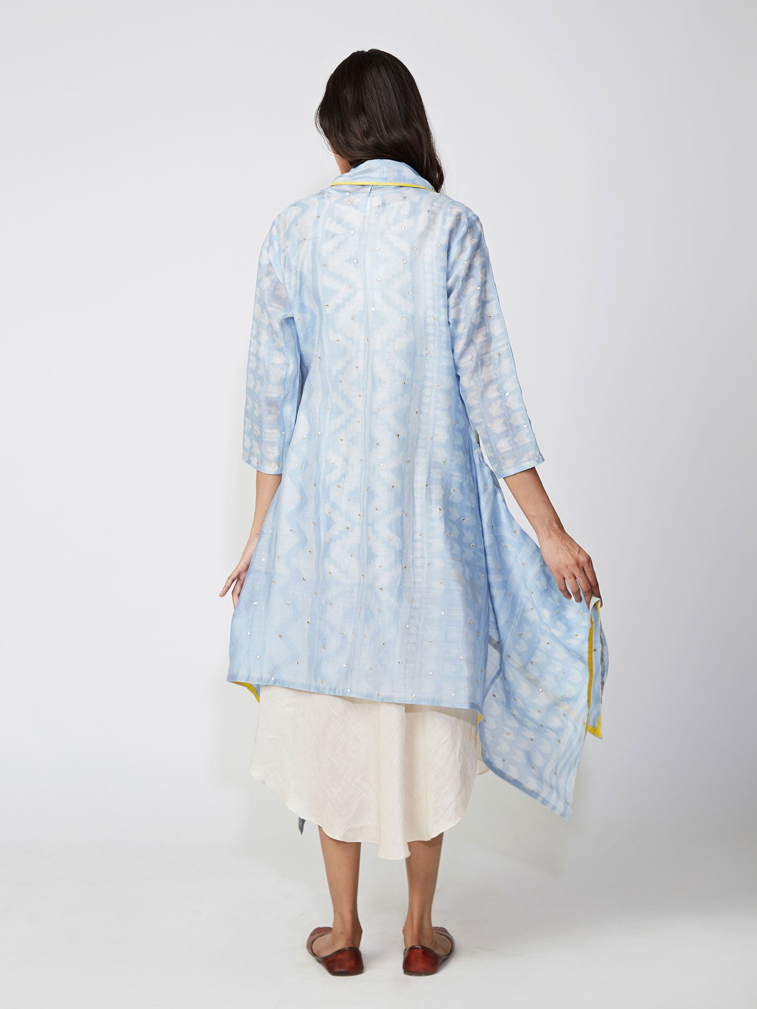 Sky Tribal Print Chanderi Jacket And Shift Dress