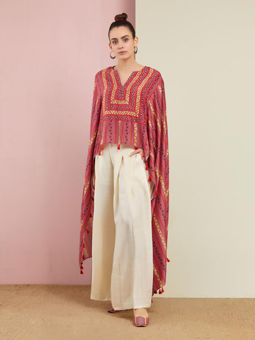 ROSE GOLD KAMAL ASYMMETRICAL EMBROIDERED TUNIC AND PANTS