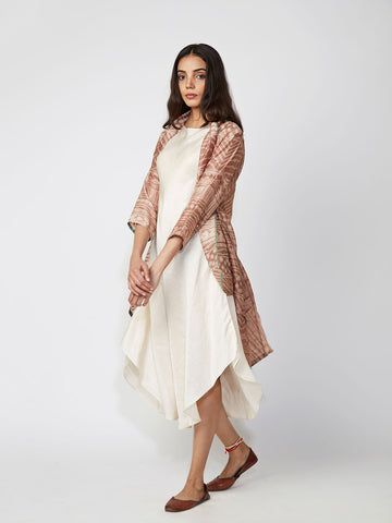 Camel Tribal Print Chanderi Jacket And Shift Dress