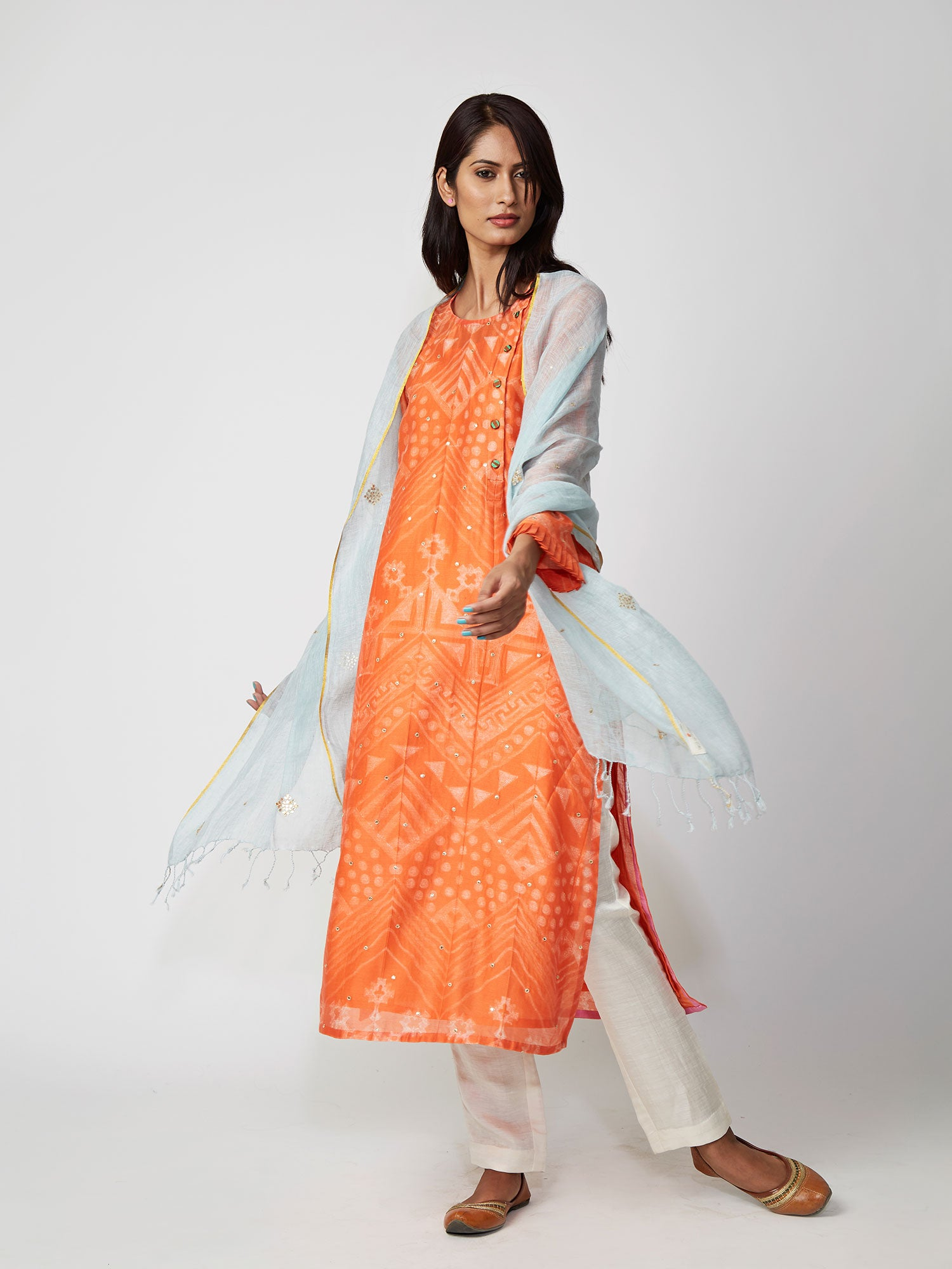kurta, chanderi, printed, aline, ORANGE, AMBER, GOTA
