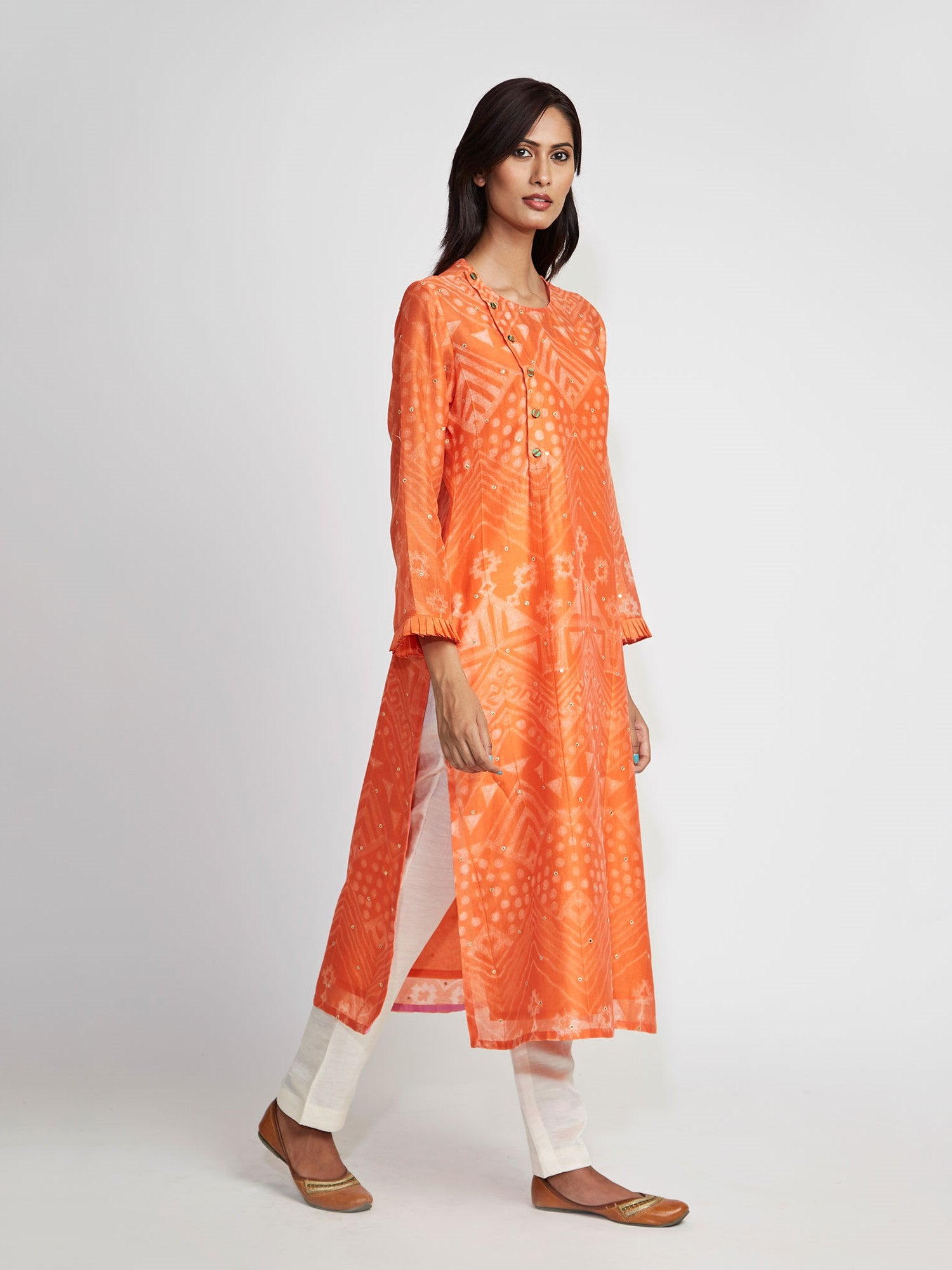 Amber Tribal Shibori Chanderi Kurta Set