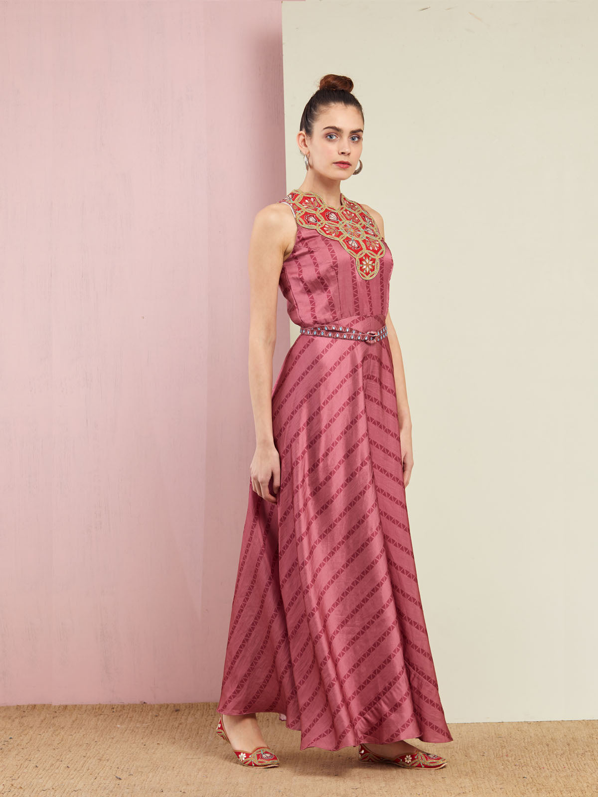 MORBAGH STRIPED ROSE PINK EMBROIDERED AND PRINTED JUMPSUIT WITH GOLDEN BELT