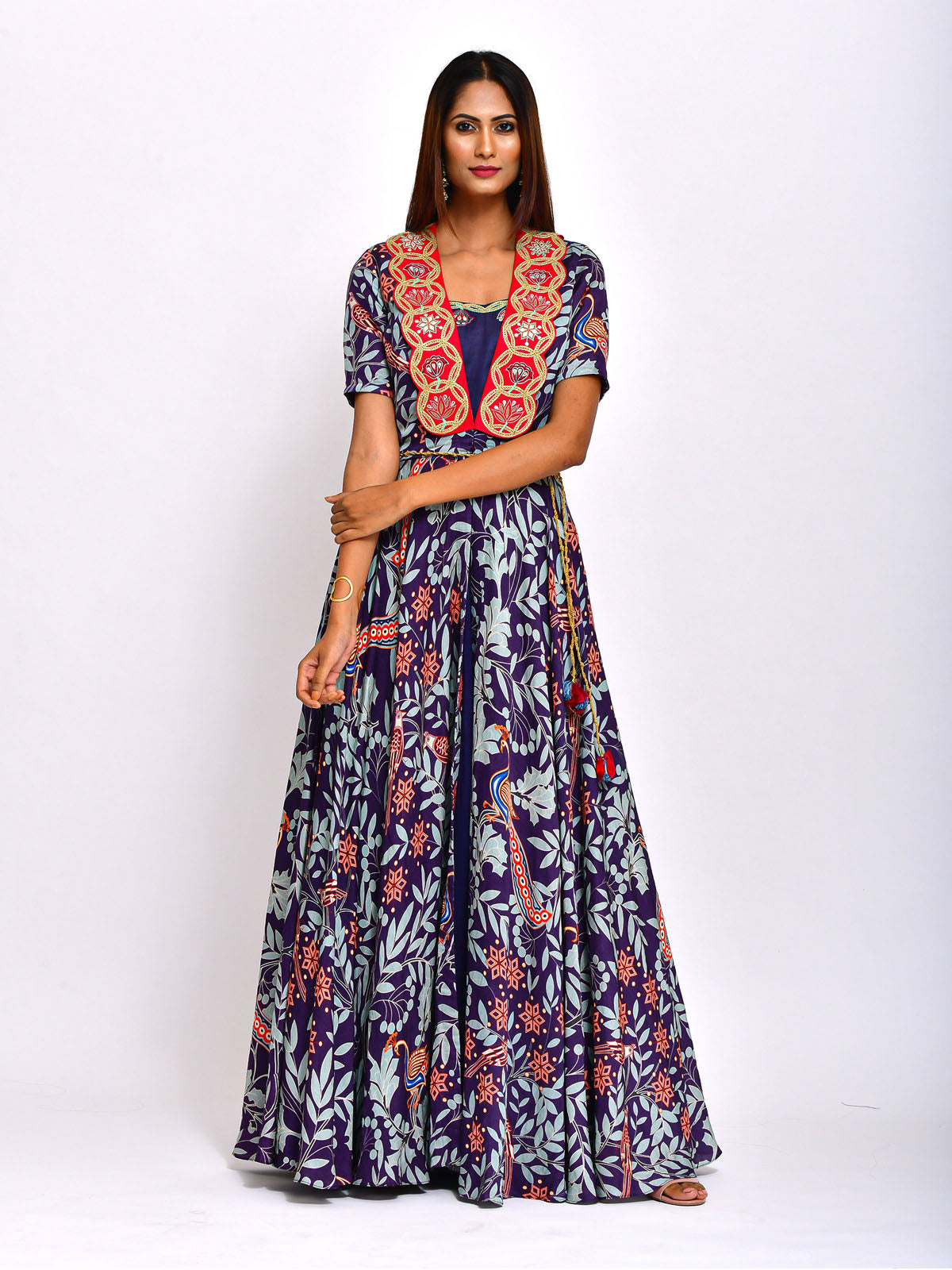 MORBAGH PRINTED LONG CAPE WITH EMBROIDED DRESS
