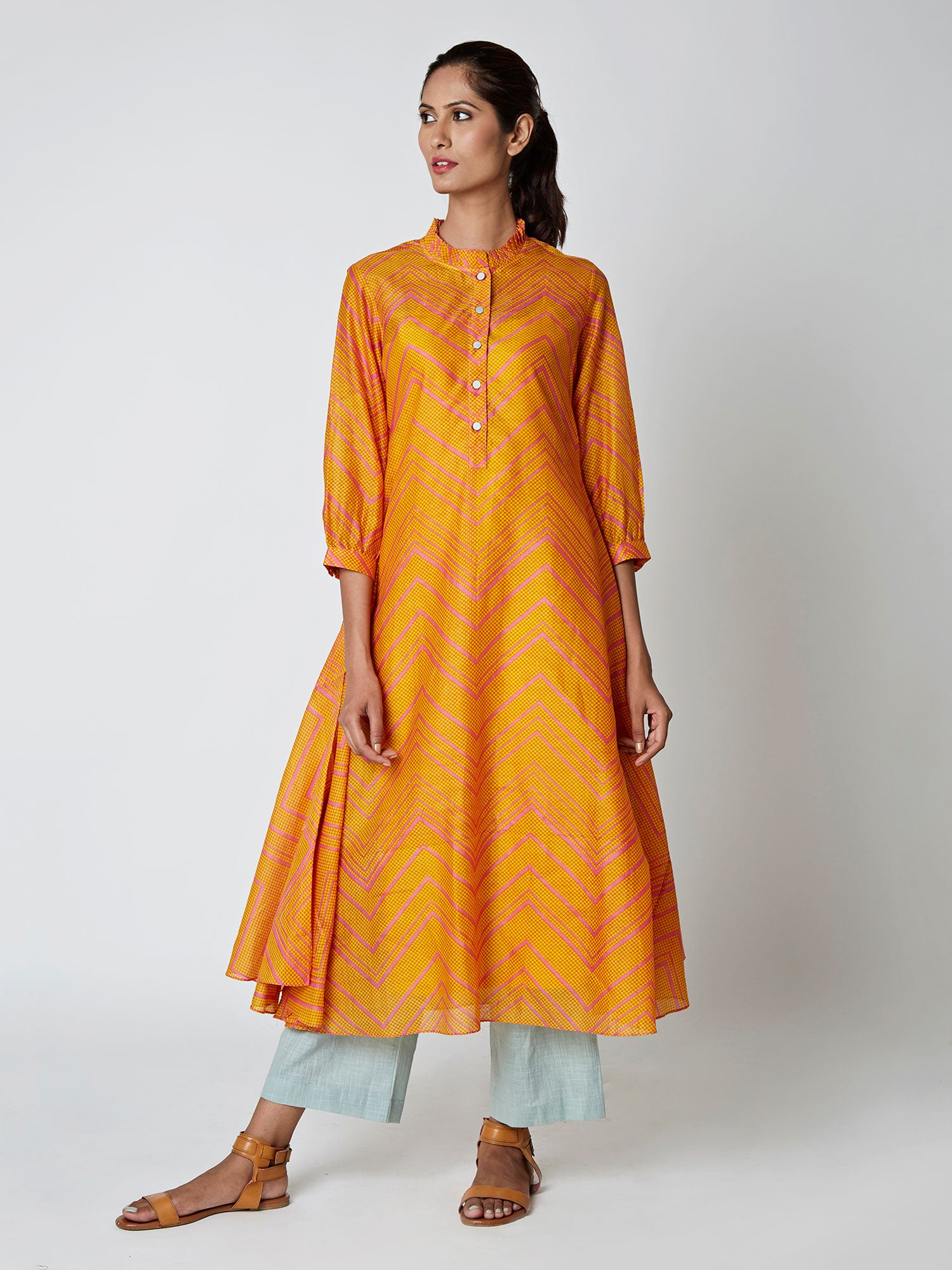 Yellow Bundi Chevron Chanderi Kurta