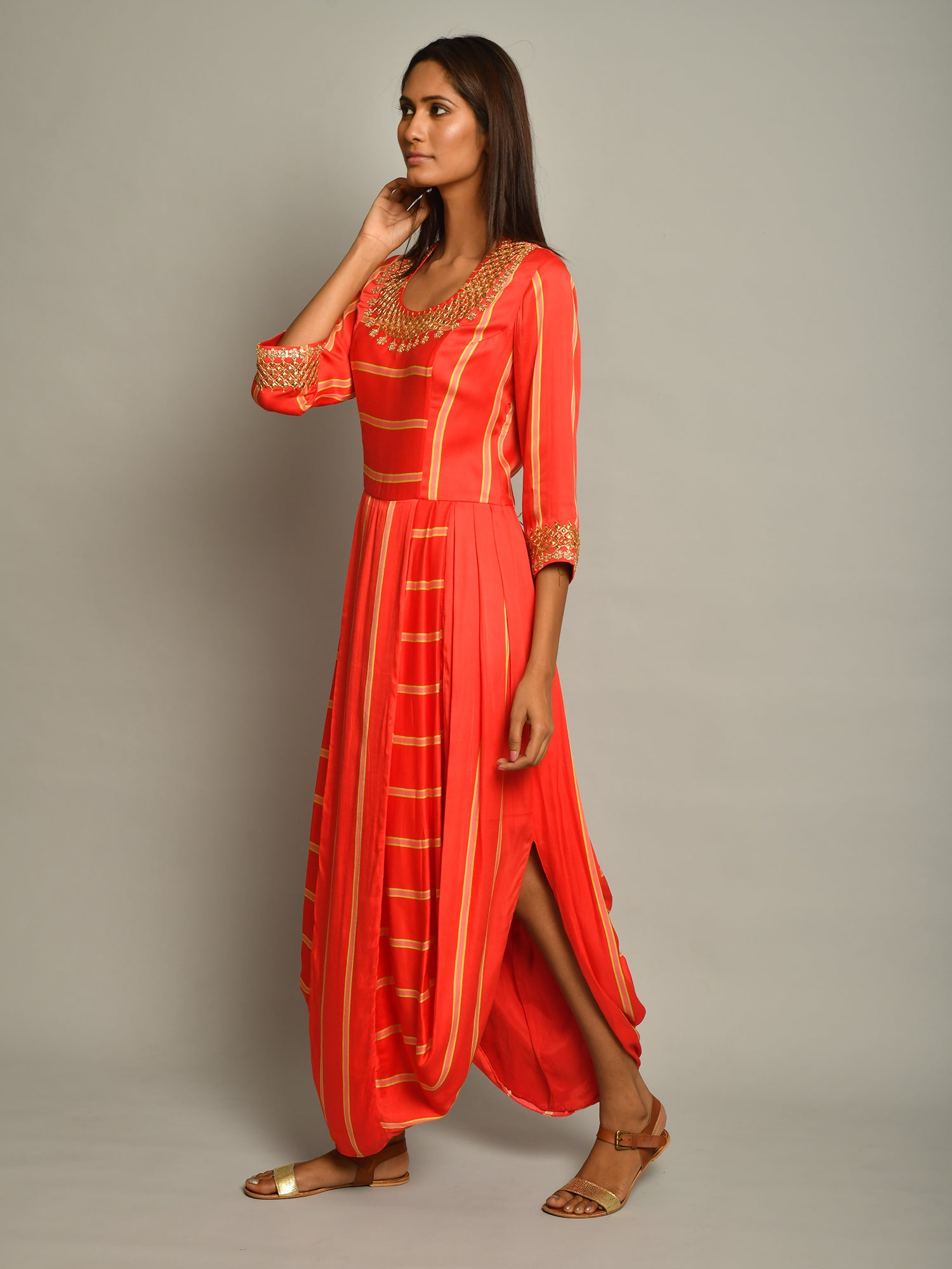 Scarlet Stripe Dhoti Dress
