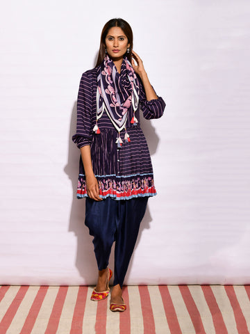 In Bloom Navy Asymmetrical Tunic