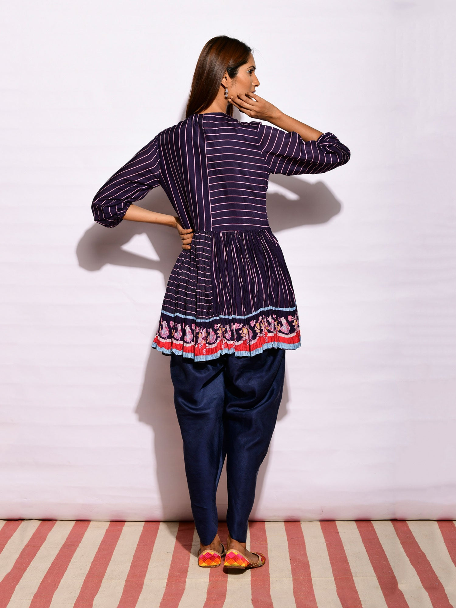 In Bloom Navy Peplum Top And Dhoti Pants