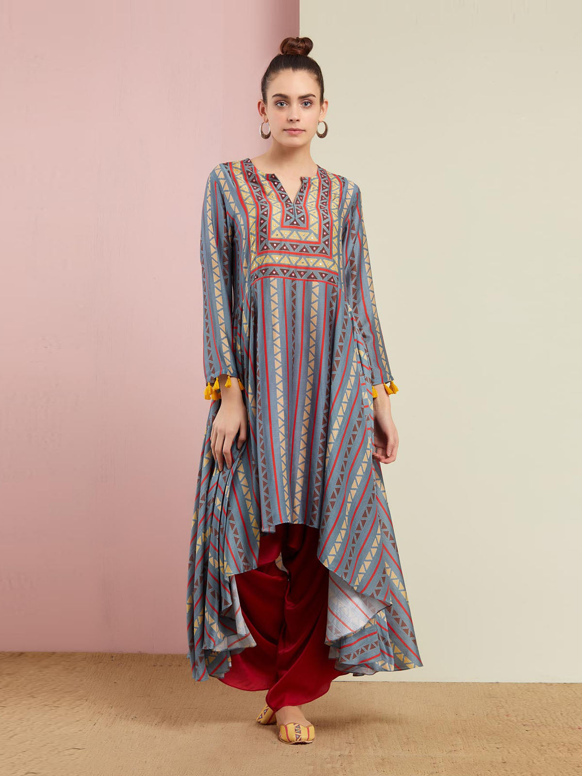GREY TRIBAL ASYMMETRIC KURTA