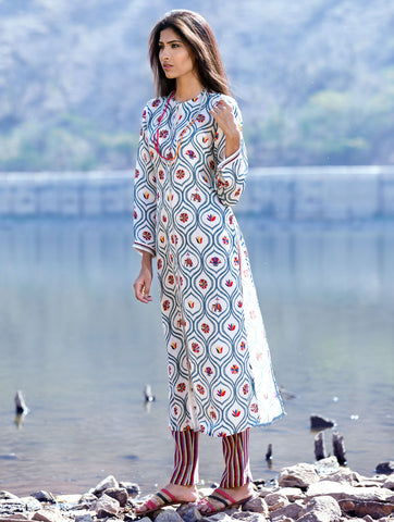 Love For Stripes Jaal Print Straight Tunic