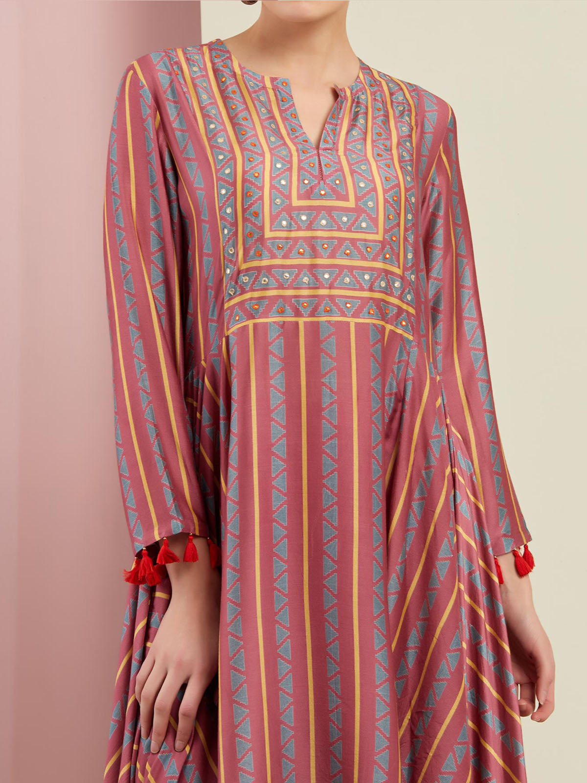 ROSE PINK TRIBAL ASYMMETRIC KURTA