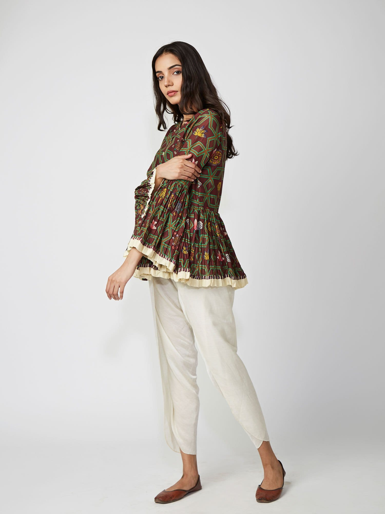 top, peplum, printed, blouse, printed top, indowestern