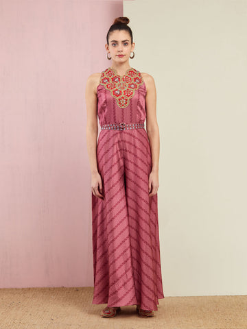 MORBAGH STRIPED ROSE PINK EMBROIDED AND PRINTED JUMPSUIT WITH GOLDEN BELT