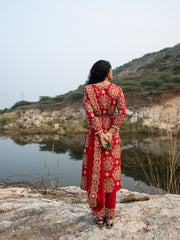 KAMAL RED EMBROIDED HEAVY KURTA, PANTS AND DUPATTA