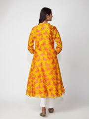 Yellow Bundi Printed Flared Kurta