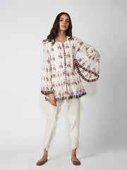 peplum, top, blouse, printed, white, indowestern
