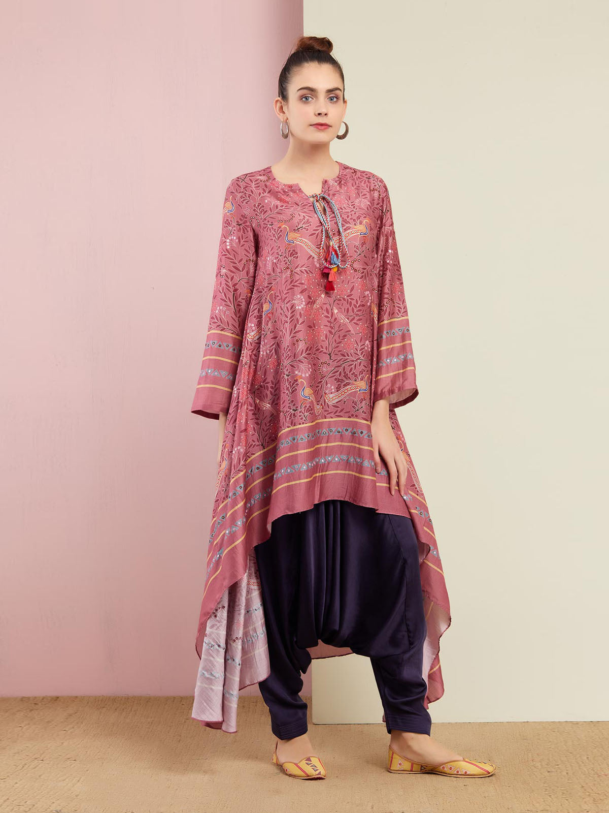 PEACOCK ROSE PINK ASYMMETRICAL EMB. TUNIC WITH ZUOFF PANTS