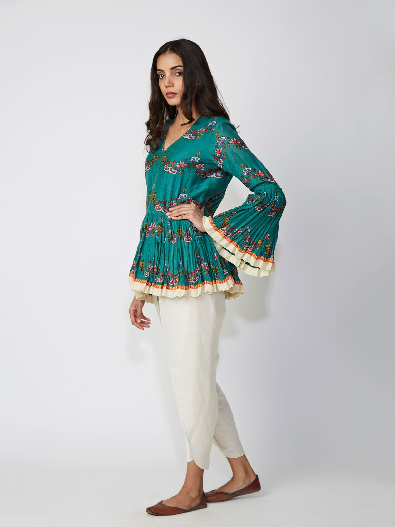 Bundi Teal Scallop Print Peplum Shirt