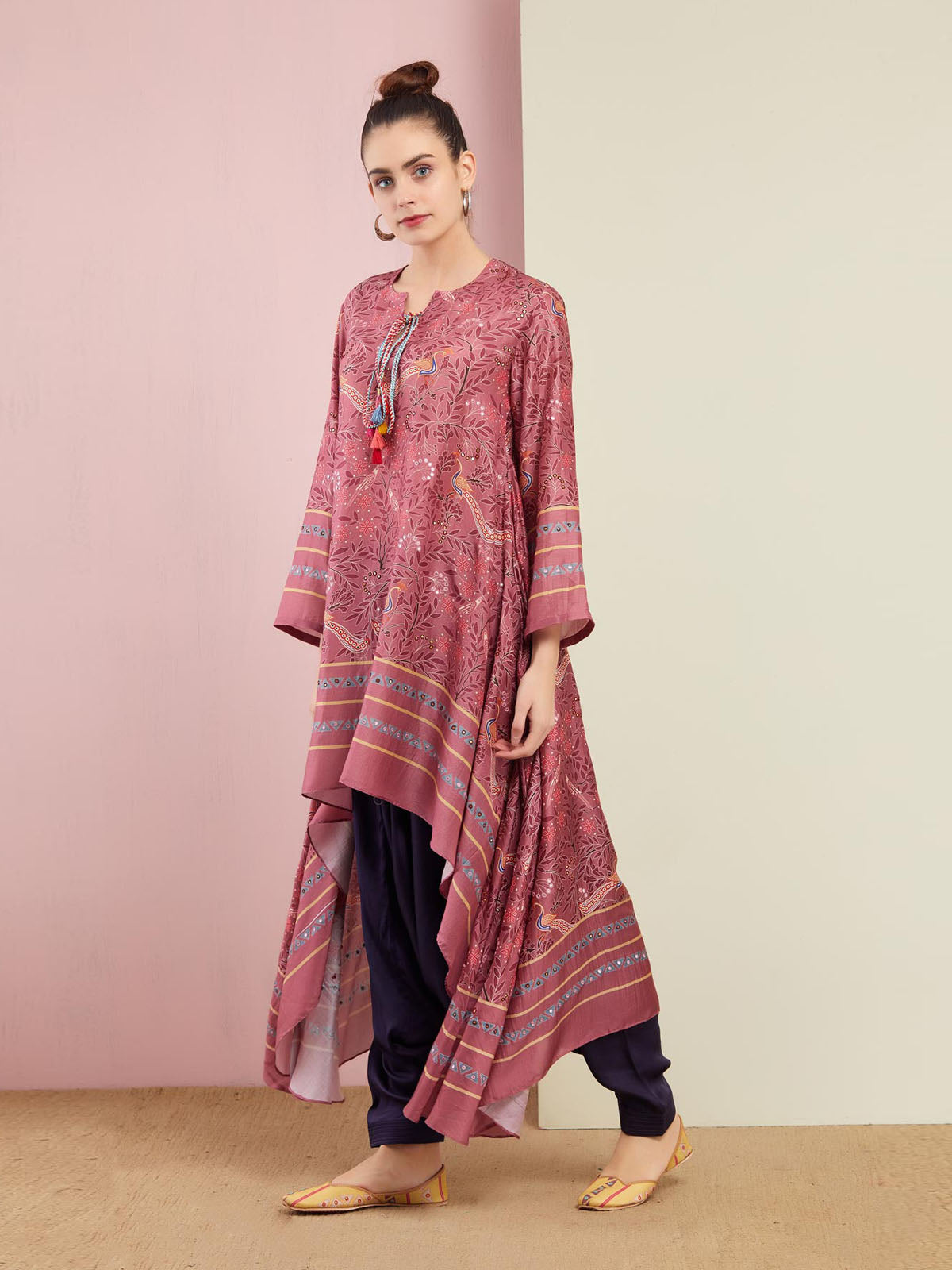 PEACOCK ROSE PINK ASYMMETRICAL EMBROIDERED TUNIC WITH ZUOFF PANTS