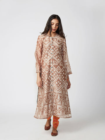 Camel Tribal Print Chanderi Kurta