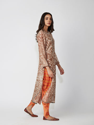 kurta, chanderi, printed, aline, brown
