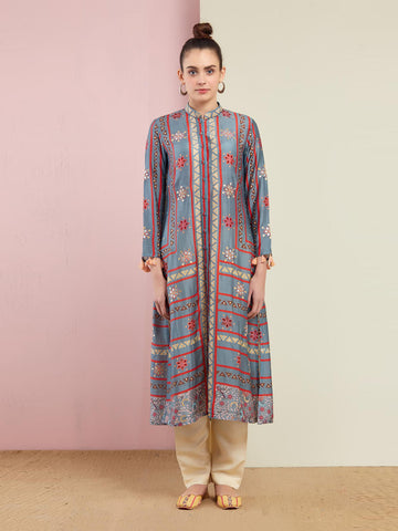 MORBAGH NAVY ASYMMETRICAL KURTA WITH DHOTI PANTS