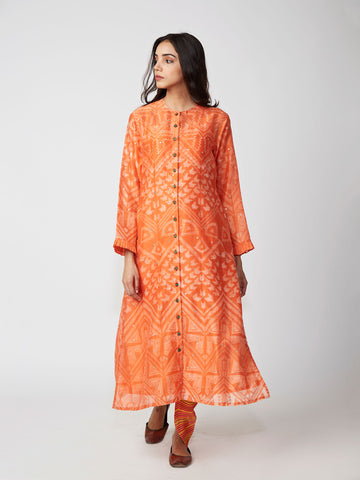Amber Tribal Print Chanderi Kurta