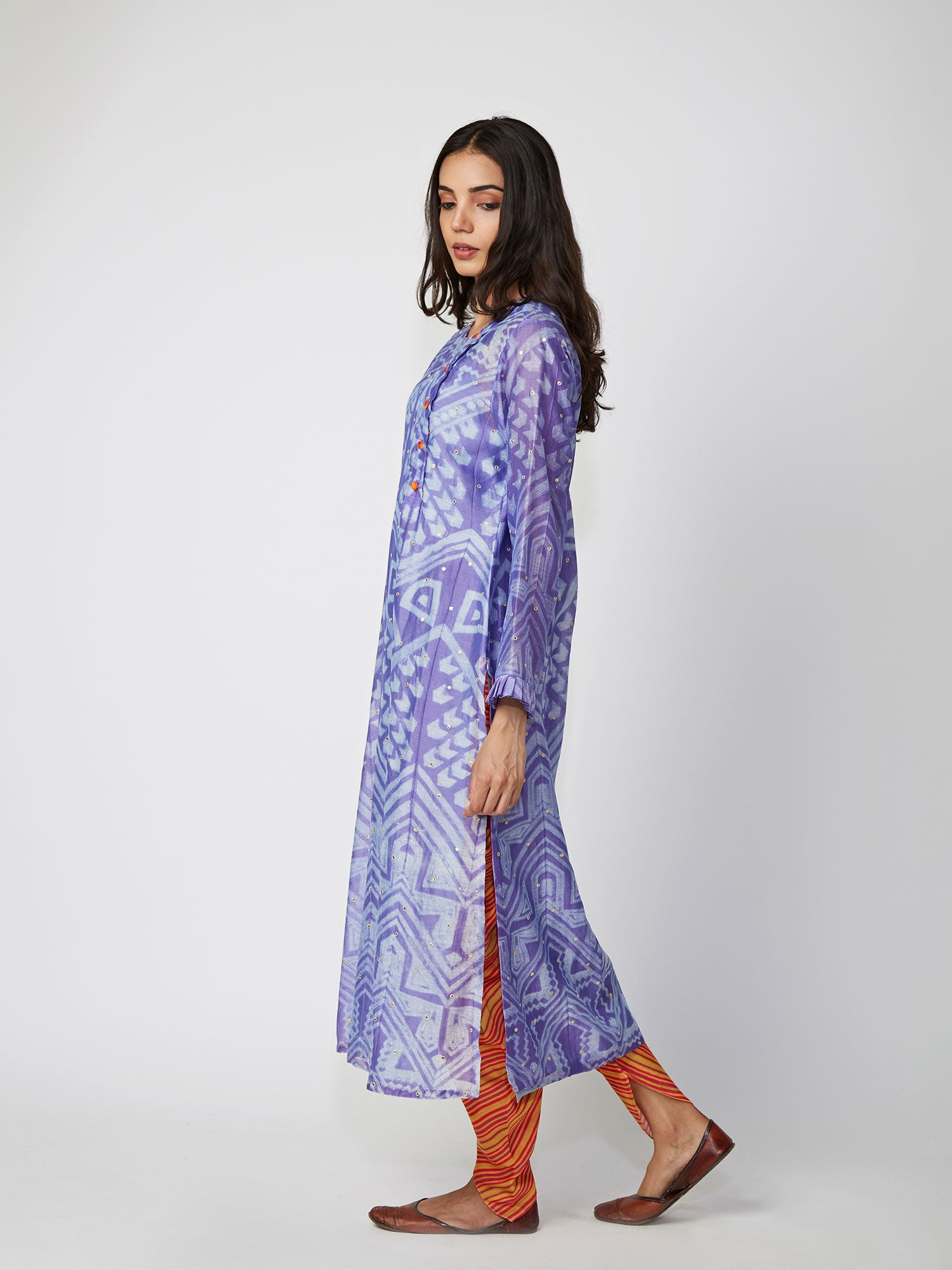 kurta, chanderi, printed, aline, grey, straight, PURPLE, violet