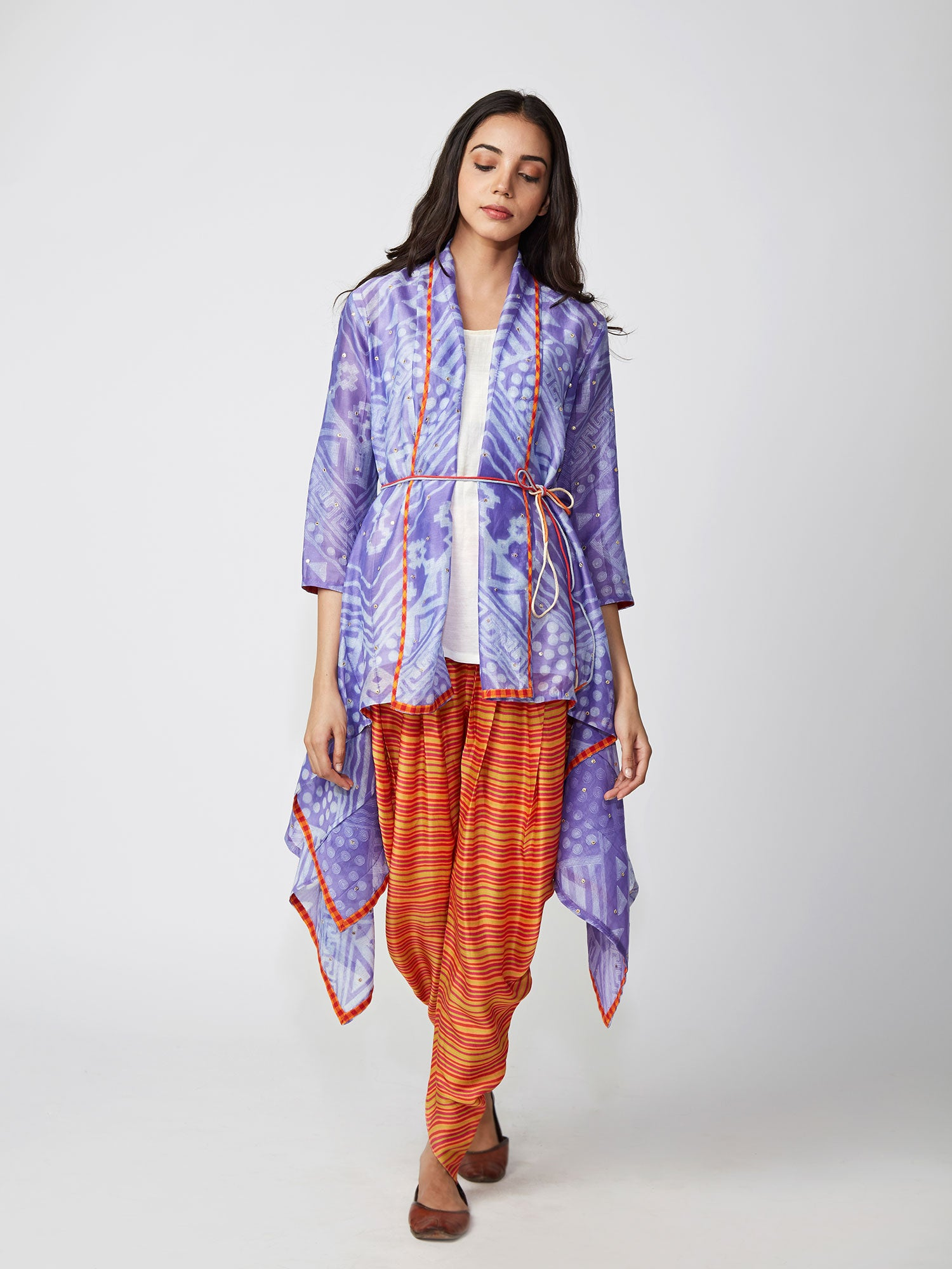 shiboridyed, prints, violet, dhotipants, capes, jackets, chander, gota, indiancontemporary, swativijaivargie