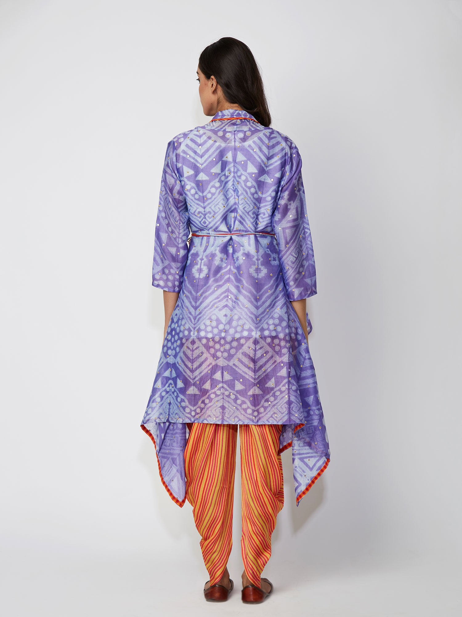 Violet Tribal Shibori Chanderi Jacket And Dhoti Pants