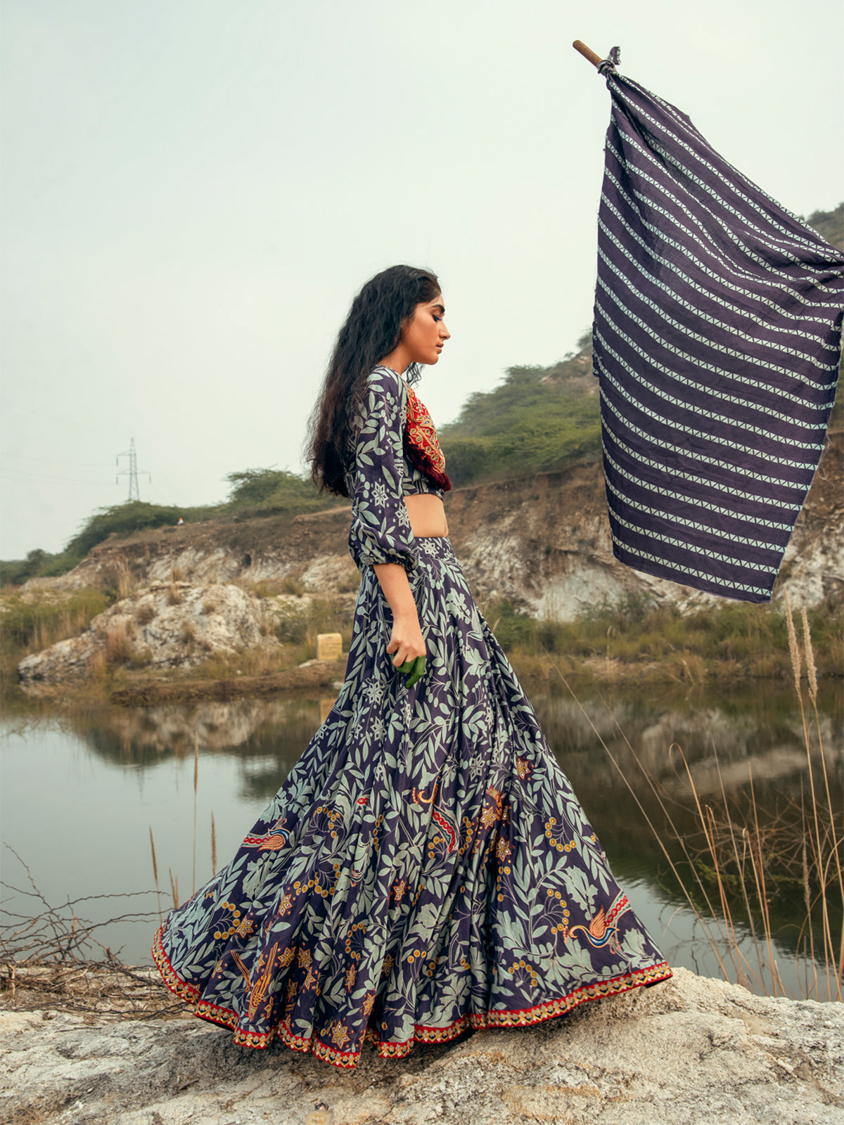 MORBAGH NAVY EMBROIDED LEHENGA WITH CROP TOP