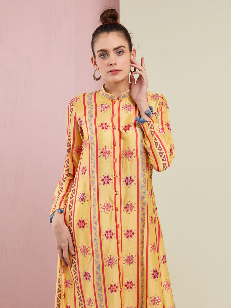 YELLOW STRIPE EMBROIDERED FRONT OPEN KURTA WITH PANTS