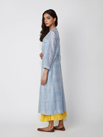 Sky Tribal Print Chanderi Kurta