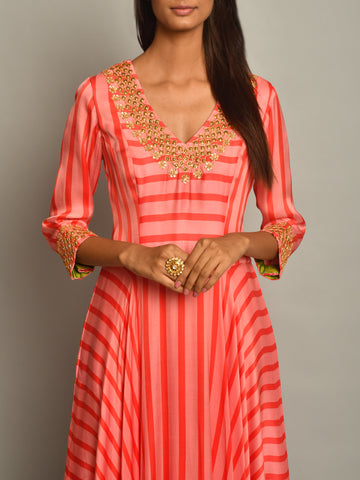 PINK ASYMMETRICAL STRIPE DRESS